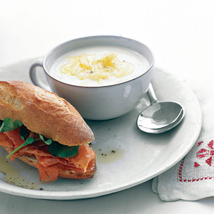 Cauliflower Soup with Prosciutto Sandwiches