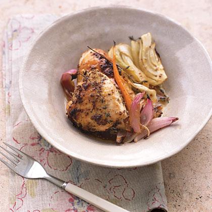 Mustard-Roasted Chicken with VegetablesRecipe