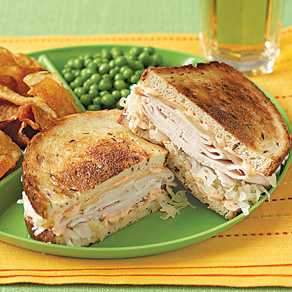 Turkey Reubens RecipeHere's everything you love in a traditional Reuben, but with turkey instead of corned beef.