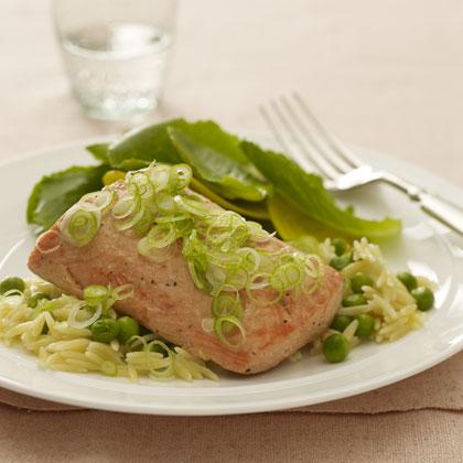 salmon-orzo-broiled Recipe