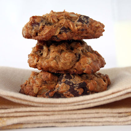 """""""These are a great tasting cookie. And you feel good that they have less butter and more healthy ingredients. My kids love them. I have made them twice and will make them again."""" —MaryAnneOatmeal-Date-Chocolate Cookies Recipe"""