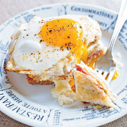A Mornay sauce is a variation of a basic white sauce and can be made with a variety of cheeses. Because it's a fairly mild sauce, it typically served with eggs, fish, shellfish, vegetables and chicken. Here, it's featured in the classic French dish Croque-Madame, a toasted ham and cheese sandwich topped with an egg and the creamy sauce.Recipe: Croque-Madame