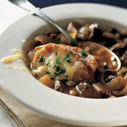 French Onion Soup with Beef and Barley Recipe
