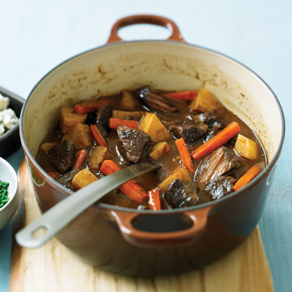 Smoky Beef Stew with Blue Cheese and ChivesRecipe