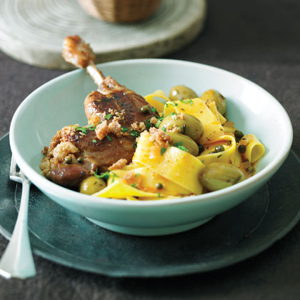 Duck Legs in Green Olive Sauce with Cracklings and Pappardelle Recipe