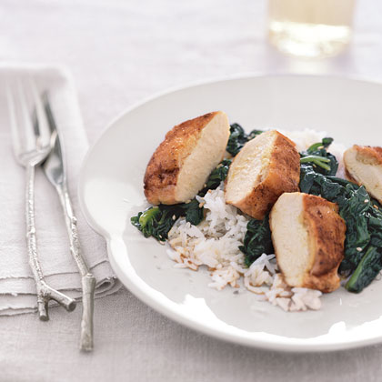 Ginger-Stuffed Chicken with Sesame Spinach Recipe