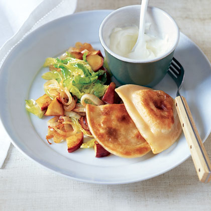 """Potato Pierogi with Sautéed Cabbage and Apples"""