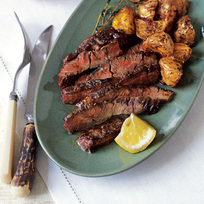 Skirt Steak with Lemon and Chili-Roasted Potatoes Recipe