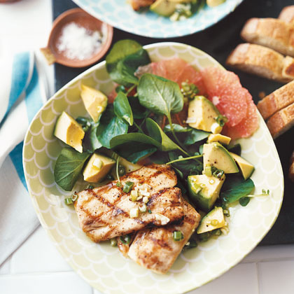 """Grilled Mahimahi with Grapefruit, Avocado, and Watercress Salad"""