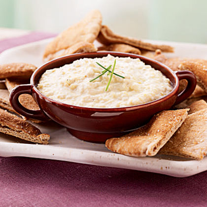 Artichoke, Leek, and Goat Cheese Dip with Garlic Pita ChipsRecipe