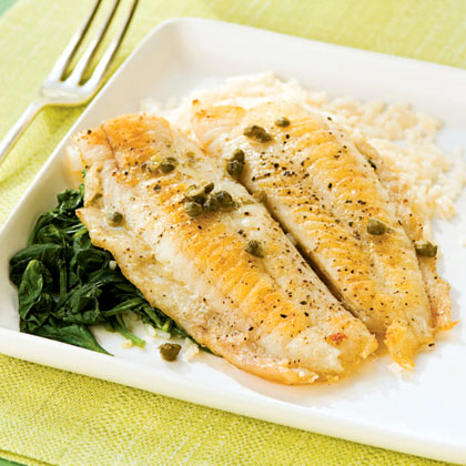 <p>Flounder Piccata with Spinach</p>