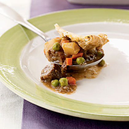 Beef and Leek Potpie with Chive Crust