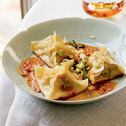 Ginger-Shrimp Pot Stickers with Spicy Peanut Dipping Sauce Recipe