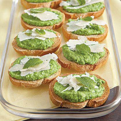 Bruschetta with Minted Pea Puree Recipe