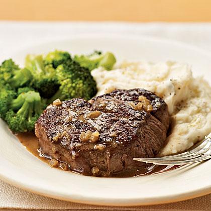 Brandy and Mustard–Glazed Tenderloin Steaks