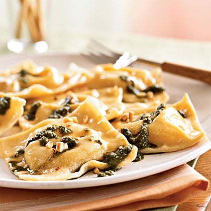 Chickpea Ravioli with Basil Pesto and Hazelnuts Recipe