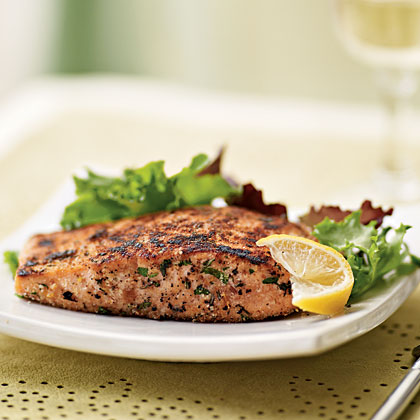 Herb-Crusted Salmon with Mixed Greens SaladRecipe