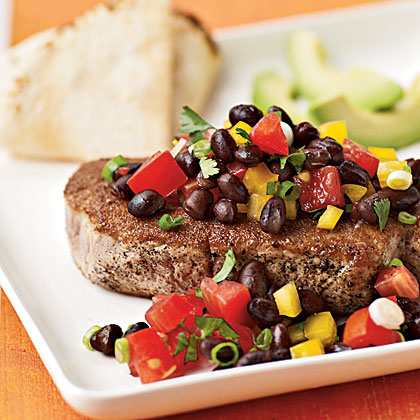 <p>Coriander-Crusted Tuna with Black Bean Salsa</p>
