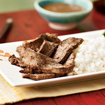 Flank Steak with Hot Peanut Sauce Recipe