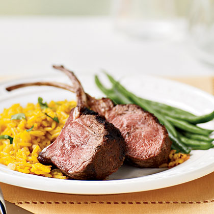 Grilled Rack of Lamb with Saffron Rice RecipeOnline reviewers rave about the superb flavor of the tender lamb, and declare this a perfect recipe for a dinner party.