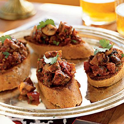 Spicy Stir-Fried Mushroom Bruschetta