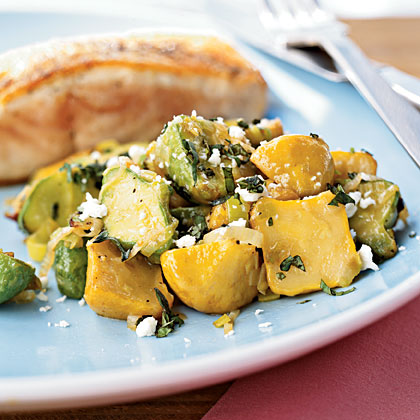 Sautéed Baby Squash with Basil and Feta Recipe