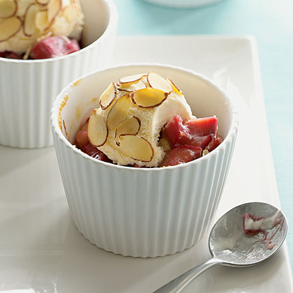 Rhubarb Compote with Toasted-Almond Ice Cream BallsRecipe