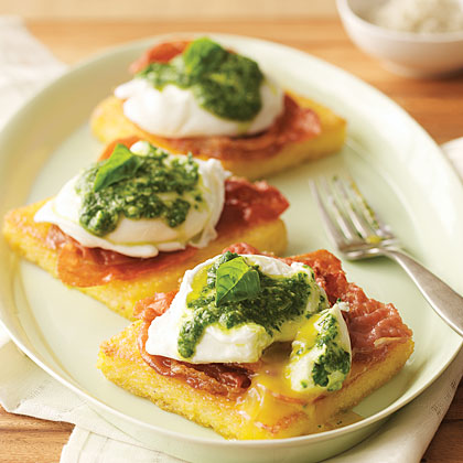 Uova Benedetto (Poached Eggs on Polenta with Pesto and Crisp Prosciutto) Recipe