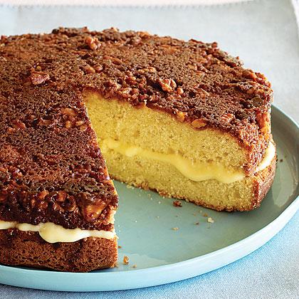Custard-filled Walnut-topped Cake Recipe