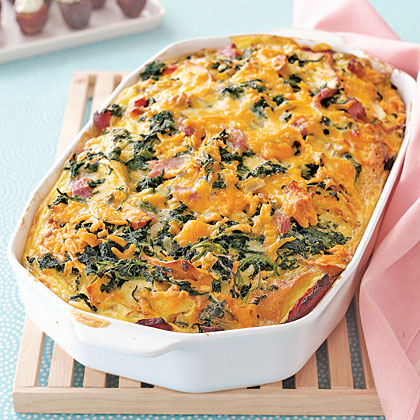 Cheddar, Ham and Spinach Strata