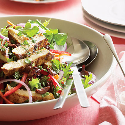 Grilled Chicken on Greens with Creamy Harissa Dressing Recipe