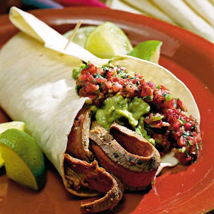 Southwest Flank Steak with Salsa RecipeServe this fajita-seasoned steak with a spicy salsa and wrap in flour tortillas for an easy south-of-the border dinner.