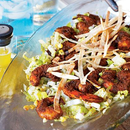 Blackened Shrimp Salad with Jicama and Grilled Corn