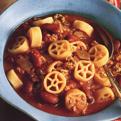 """Wagon Wheel Beef Soup RecipeTrent, 9, along with our other judges, gave this soup recipe a perfect score. """"It makes spaghetti and meatballs fun, and the beans add flavor and texture."""" Need we say more?"""