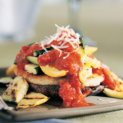 Grilled Vegetables with Potato Cakes