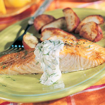 Salmon with Mustard Cream