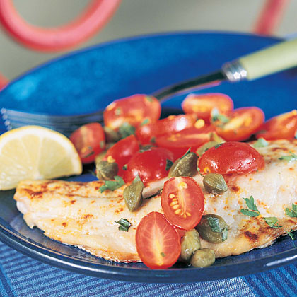 Snapper with Tomato-Caper Topping Recipe