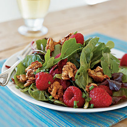 Mesclun with Berries and Sweet Spiced Almonds RecipeRaspberries add bright color and several good-for-you nutrients like fiber, antioxidants, and vitamin C. Almonds are a good source of vitamin E and monounsaturated fats. Chives, members of the onion family, add phenols and flavonoids.