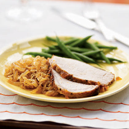 Rubbed Pork Loin with Apricot Glaze and SauerkrautRecipe