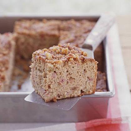 Rhubarb–Sour Cream Snack Cake with Walnut Streusel