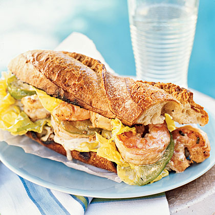 BBQ Shrimp Po' Boys with Pickled Green Tomatoes Recipe