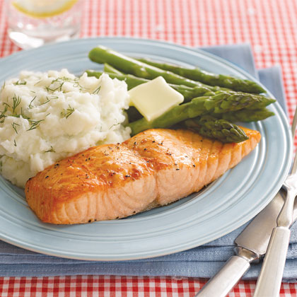 roasted salmon with dill mashed potatoes recipe myrecipes. Black Bedroom Furniture Sets. Home Design Ideas
