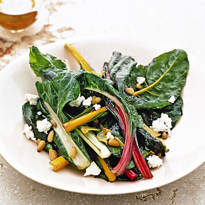 Rainbow Chard with Pine Nuts and Feta Recipe