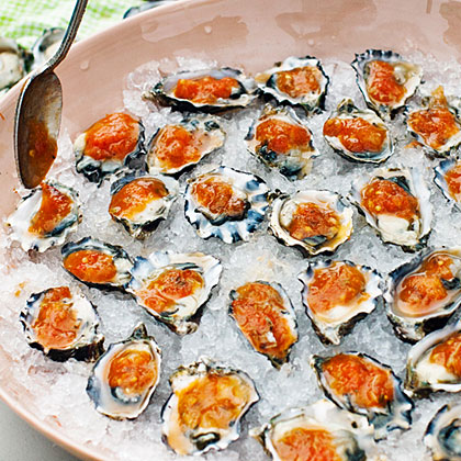 Oysters on the Half-Shell with Grilled Garden SalsaRecipe