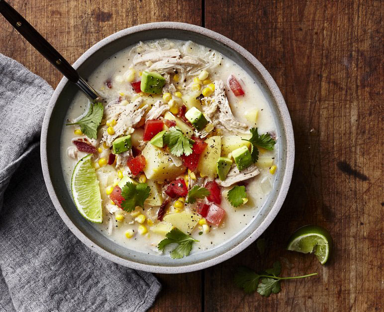 Both rich and light, this one-pot meal has a fresh, bright topping of avocado, tomato, cilantro, and lime. Prep and Cook Time: 50 minutes.Chicken and Corn Summer Chowder