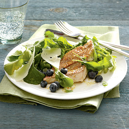 Arugula and Blueberry Salad With Seared Red Snapper