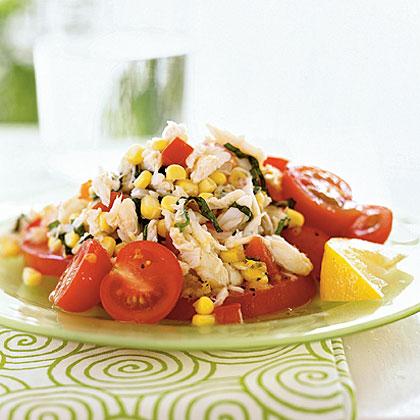 Crab, Corn, and Tomato Salad with Lemon-Basil DressingRecipe