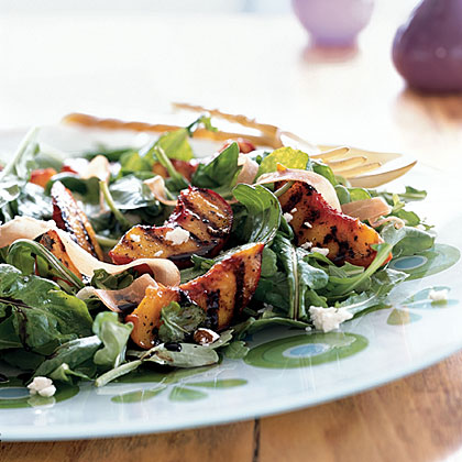 Grilled Peaches over Arugula with Goat Cheese and Prosciutto..