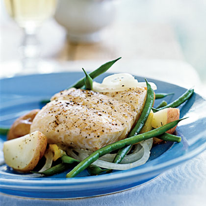 Halibut en Papillote with Potatoes, Green Beans, and Sweet Onions Recipe