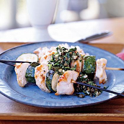 Spiedini of Chicken and Zucchini with Almond Salsa Verde Recipe